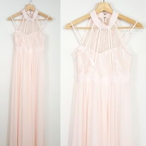 BCBGeneration Lace Halter Maxi Dress Size 4 Pink